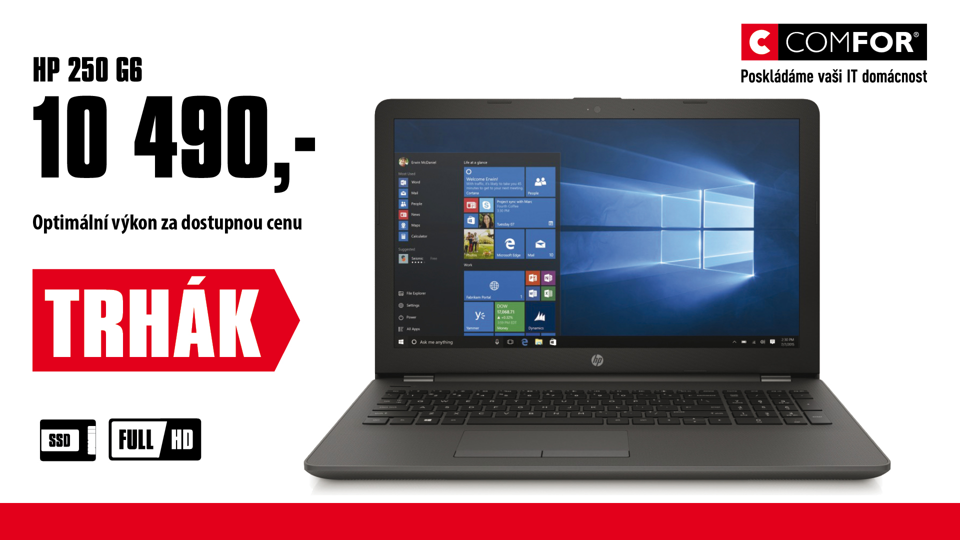 """HP 250 G6 15.6"""" HD N3710/4GB/256GB/DVD/BT/1RServis/W10"""