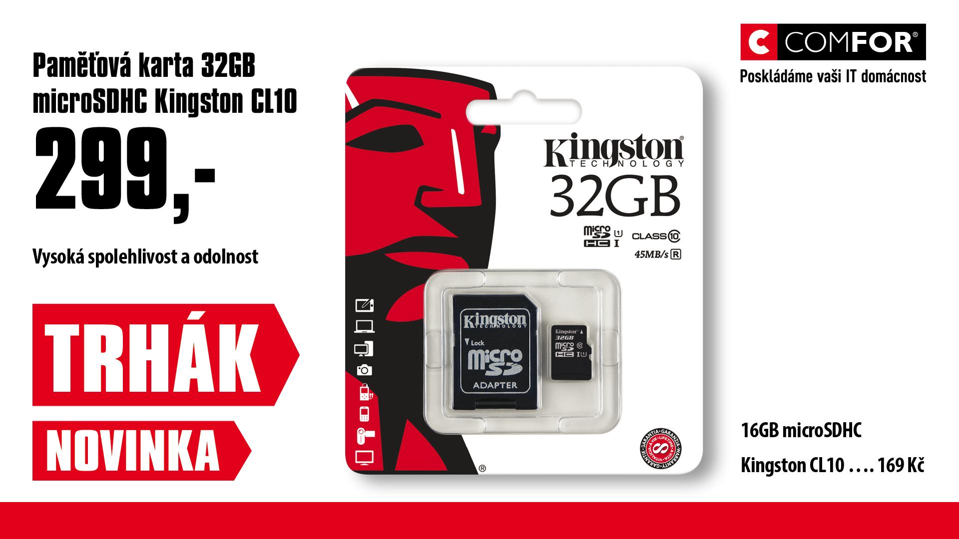32GB microSDHC Kingston CL10 UHS-I 80R + SD adap.