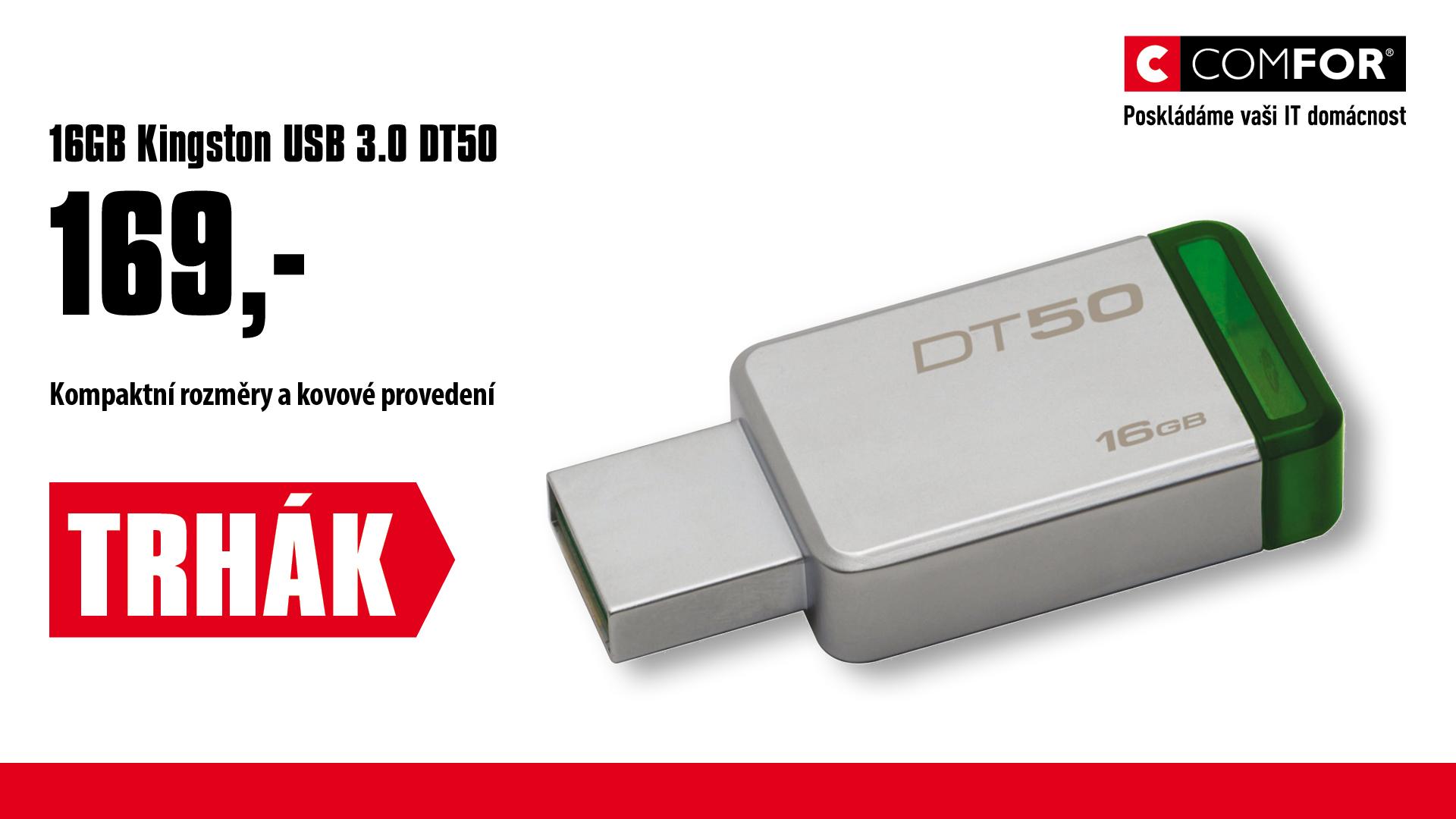 16GB Kingston USB 3.0 DT50 kovová zelená