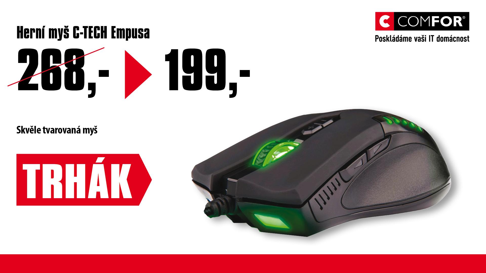 C-TECH Empusa herní myš, zelené podsvícení, laser 3400DPI, USB