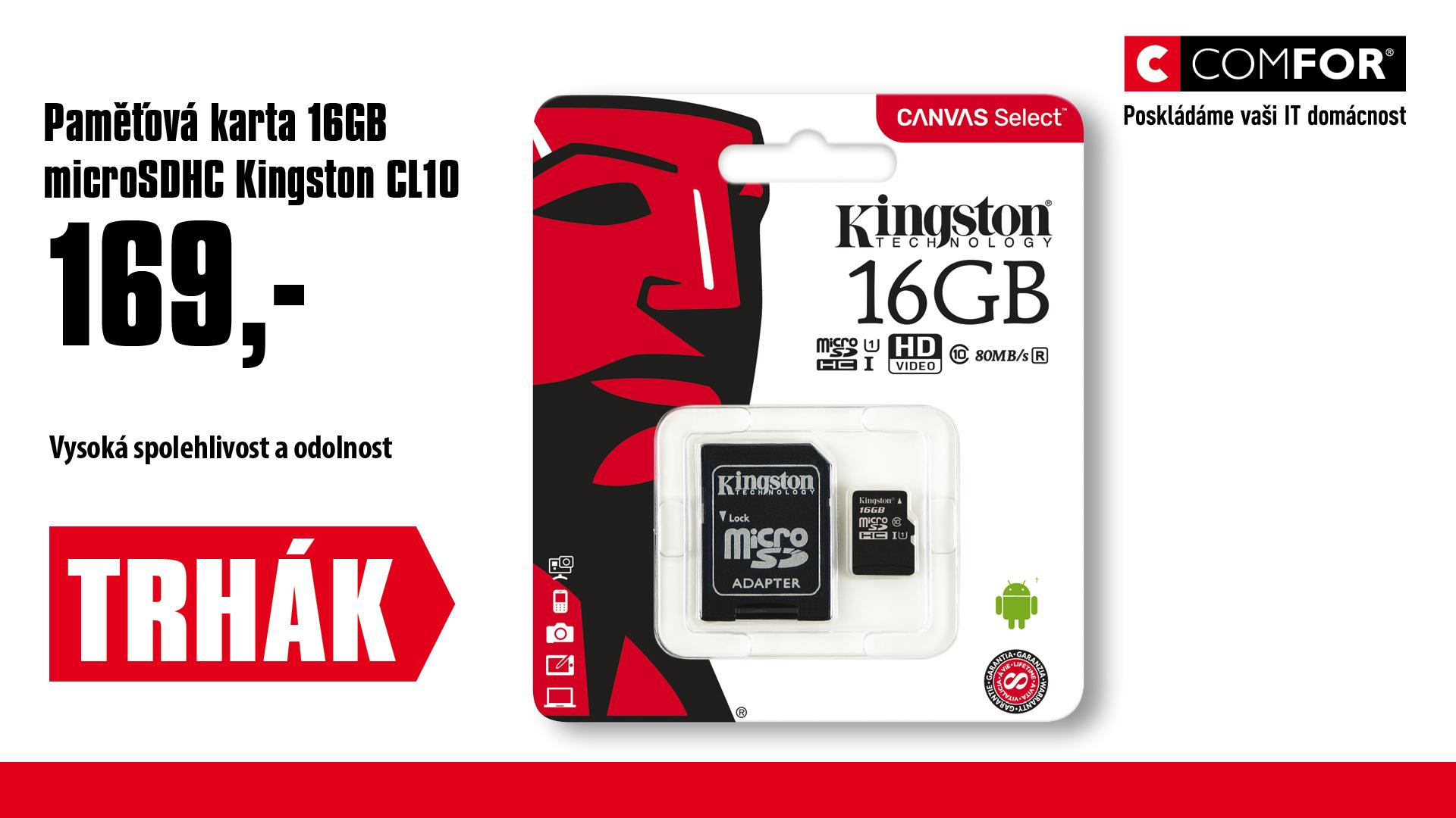 16GB microSDHC Kingston CL10 UHS-I 80R + SD adap.