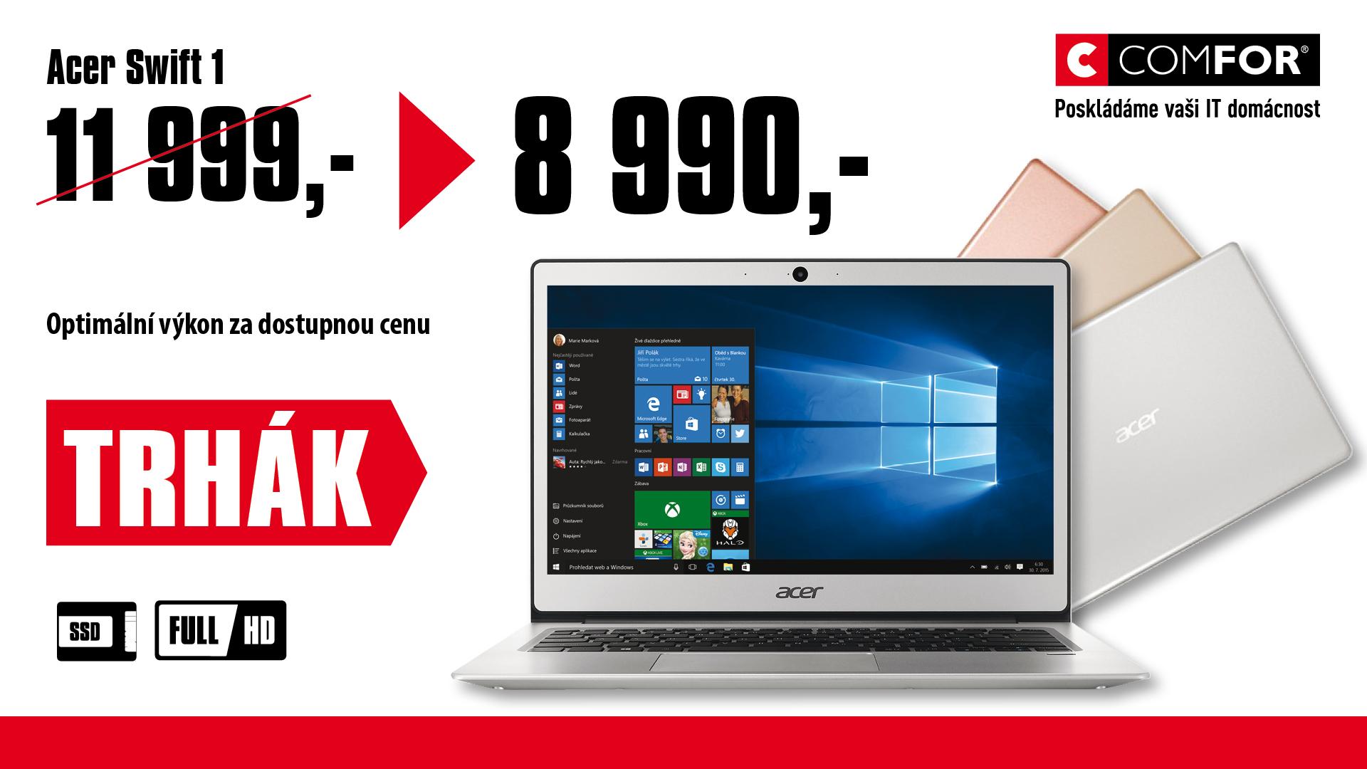 "Acer Swift 1 - 13""/N4200/4G/64GB/W10 stříbrný"